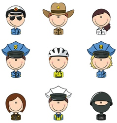 Police avatars vector image