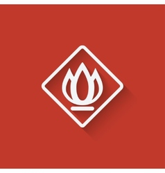 sign fire on red background vector image