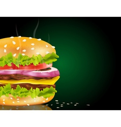 steaming cheeseburger background vector image