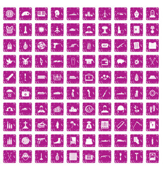 100 war crimes icons set grunge pink vector