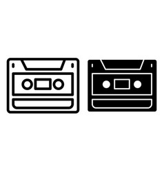 audio cassette line and glyph icon video cassette vector image