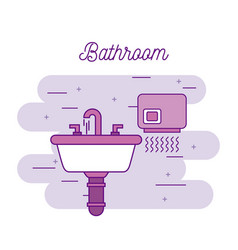 Bathroom sink and hand dryer equipment vector