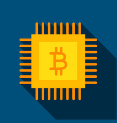 bitcoin chip flat icon vector image