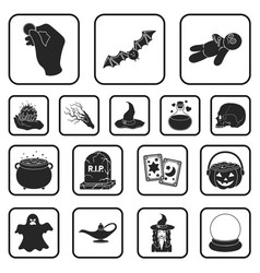 black and white magic black icons in set vector image