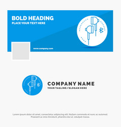 blue business logo template for headphone ear vector image