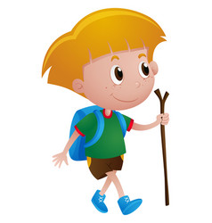 Boy with backpack and walking stick vector