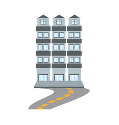Building apartment family road vector