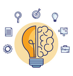 bulb and brain creative ideas vector image