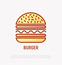 burger thin line icon vector image