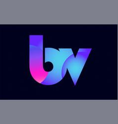 bv b v spink blue gradient alphabet letter vector image