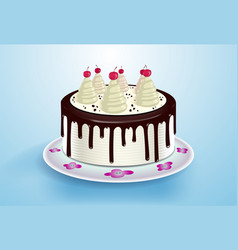 cake with cream cocktail cherry and chocolate vector image