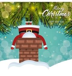 Card christmas santa stuck in chimney tree shine vector