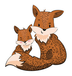 cartoon family foxes a stylized fox with a fox vector image