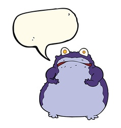 Cartoon fat frog with speech bubble vector