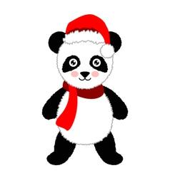 Cartoon panda wearing Santa hat Isolated vector image