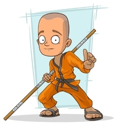 Cartoon young kung fu Buddhist with stick vector image