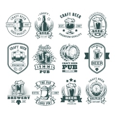 collection retro beer emblems badges stickers vector image