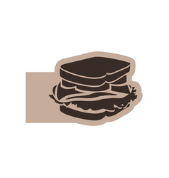 Color emblem with silhouette big sandwich vector