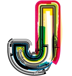 Colorful Grunge font LETTER J vector