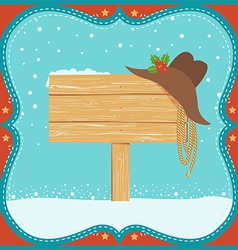 Cowboy Christmas card with western hat and wood vector
