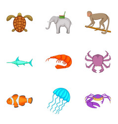 crab icons set cartoon style vector image