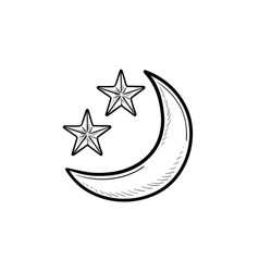 crescent moon and stars hand drawn outline doodle vector image