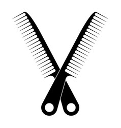 Crossed on hair comb line art icon for apps vector