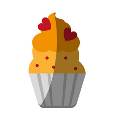 Cupcake with heart toppings icon image vector