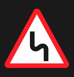 dangerous double bend sign flat icon vector image