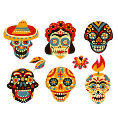 Dead day mexico skulls set vector