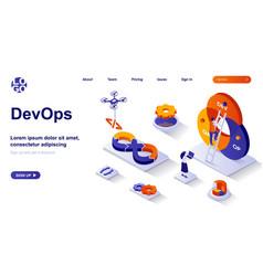 devops isometric landing page development vector image