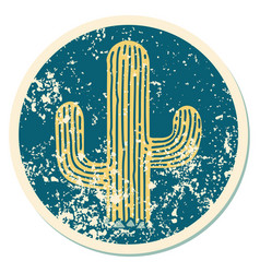 Distressed sticker tattoo style icon a cactus vector