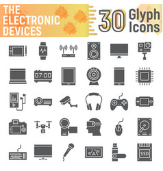 Electronic devices glyph icon set media symbols vector