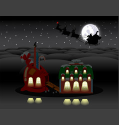 Elf gift factory christmas night vector