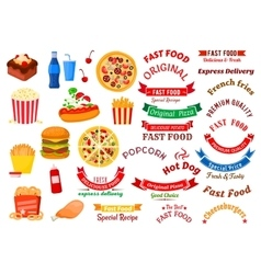 Fast food cafe and pizzeria design elements vector