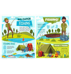 Fishermen fishing with boat rod fish net tent vector