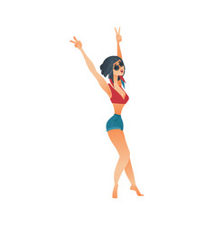 Flat cute girl dancing at beach party vector