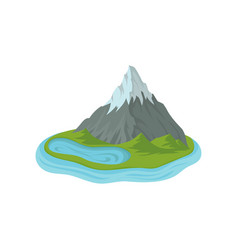 flat design of mountain with snowy peak and vector image