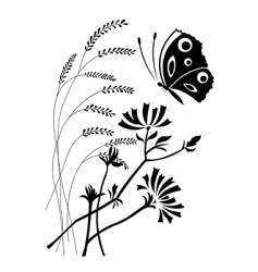 flowers and the butterfly vector image vector image