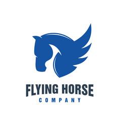 flying horse animal logo design vector image
