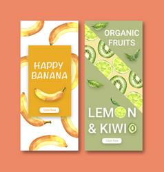Fruits-themed design flyer banana and kiwi vector