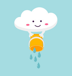 Funny cloud with bucket of rain vector