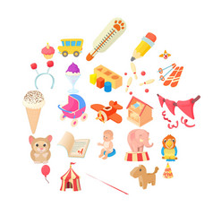 Games for schoolchildren icons set cartoon style vector