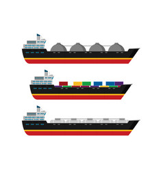 gas tanker flat design set vector image