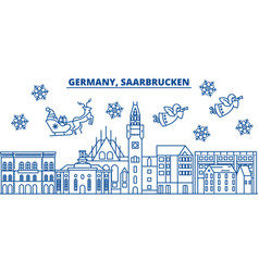 germany saarbrucken winter city skyline merry vector image