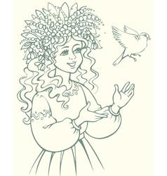 Girl in wreath looking at bird vector