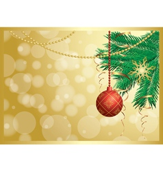 gold card with christmas decorations vector image