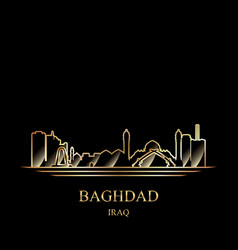 gold silhouette of baghdad on black background vector image