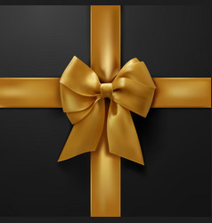 Golden bow on black background vector