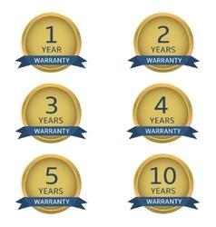 Golden warranty labels vector image